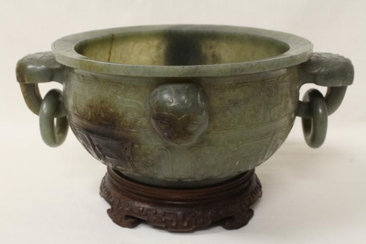 important Chinese antique celadon jade censer
