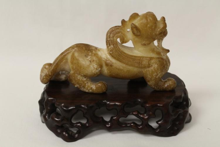 Chinese white jade carved qilin