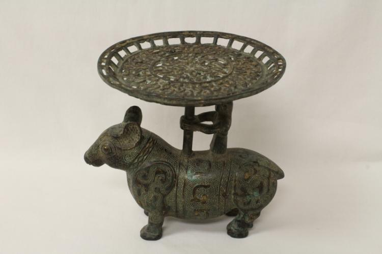Chinese archaic style bronze candle holder