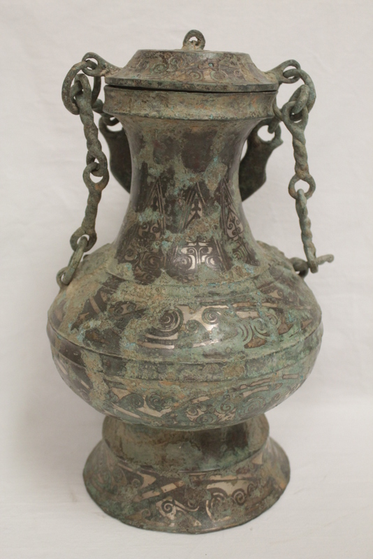 Chinese bronze wine vessel w/ silver like inlaid