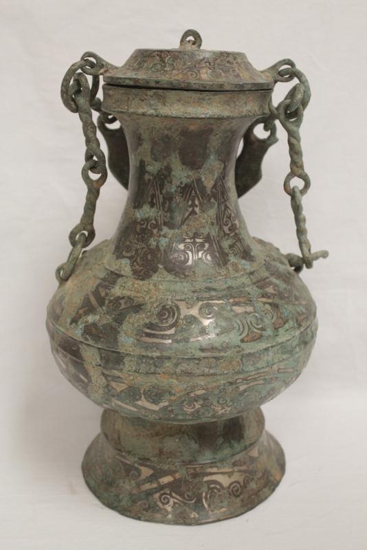 Chinese bronze wine vessel w/ silver like inlaid