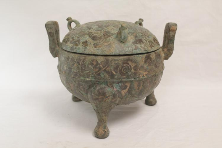 Chinese archaic bronze ding w/ silver like inlaid