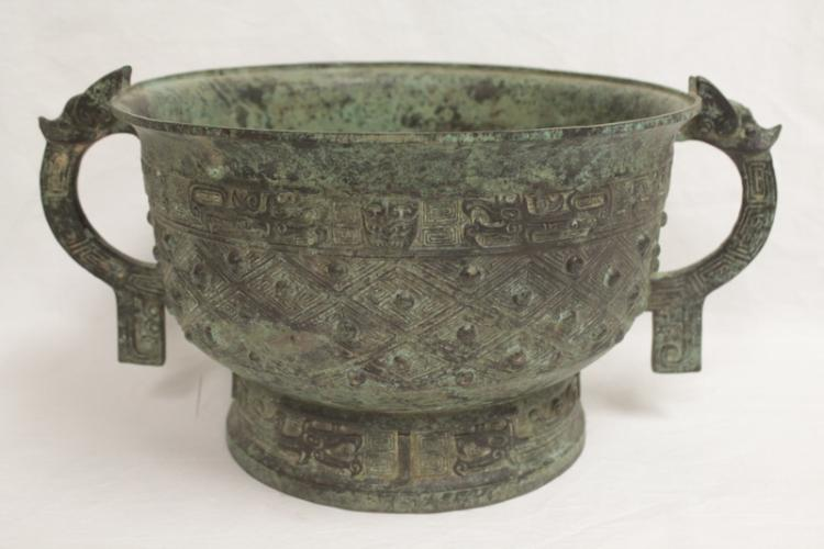 Chinese large archaic style bronze ritual wine vessel