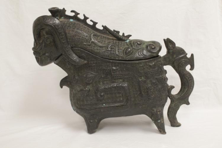Chinese archaic style bronze wine vessel