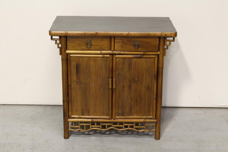 Chinese wood and bamboo altar cabinet