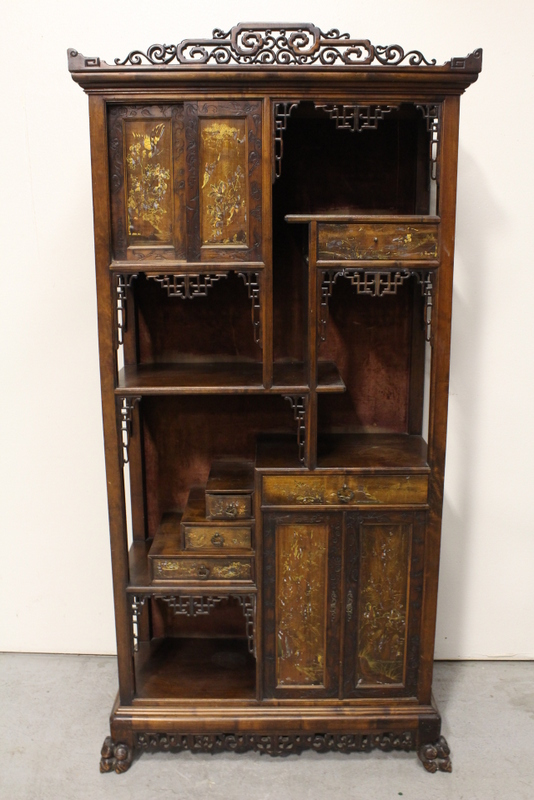 Chinese rosewood curio stand decorated w/ lacquer