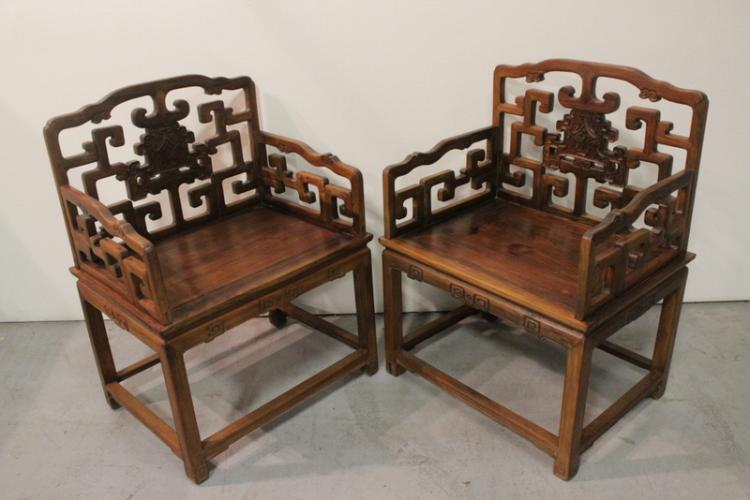 Pr extra lg Chinese antique huanghuali armchairs
