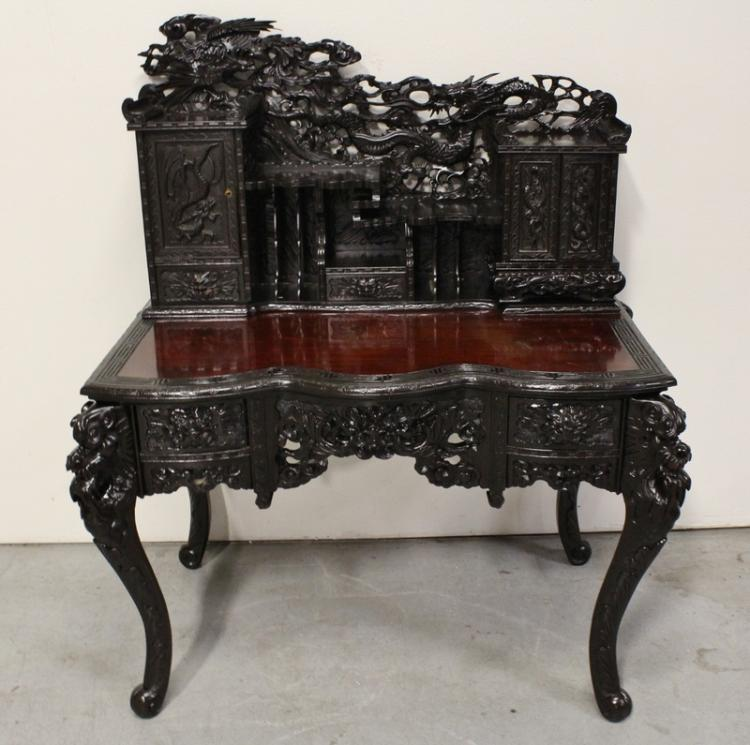 Beautiful rosewood desk w/ elaborately carving