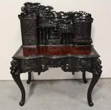 Beautiful rosewood desk w/ elaborately carving