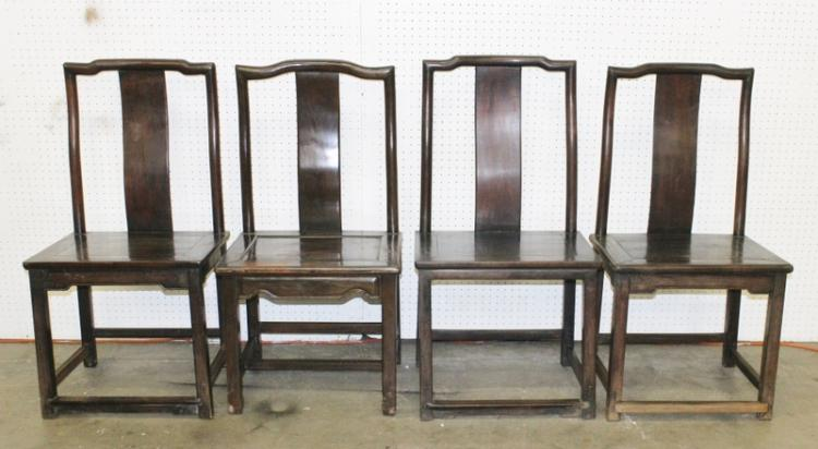 4 Chinese antique rosewood side chairs