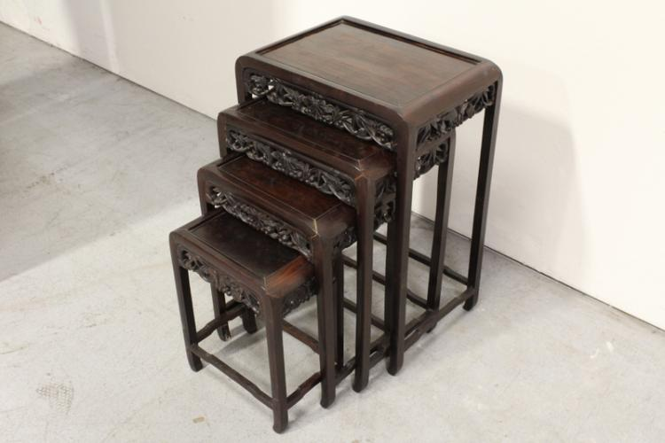 Set of 4 Chinese stackable side tables