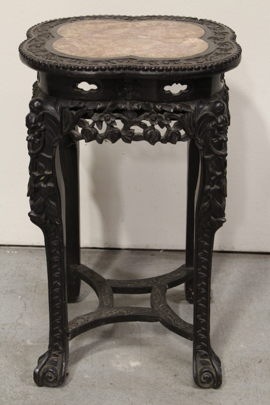 Chinese marble top rosewood pedestal table