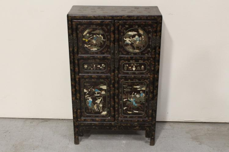 Chinese 19th c. lacquer cabinet w/ MOP & stone overlay