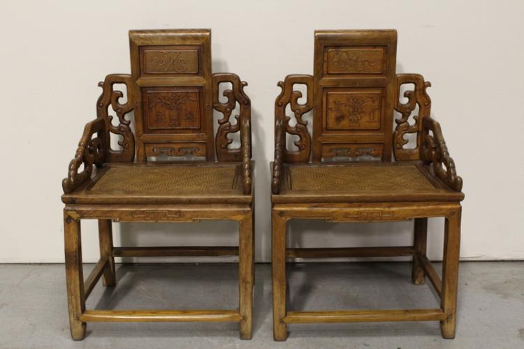 Pair Chinese 19th century rosewood armchairs