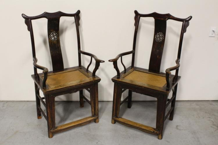 Pair Chinese antique large rosewood armchairs