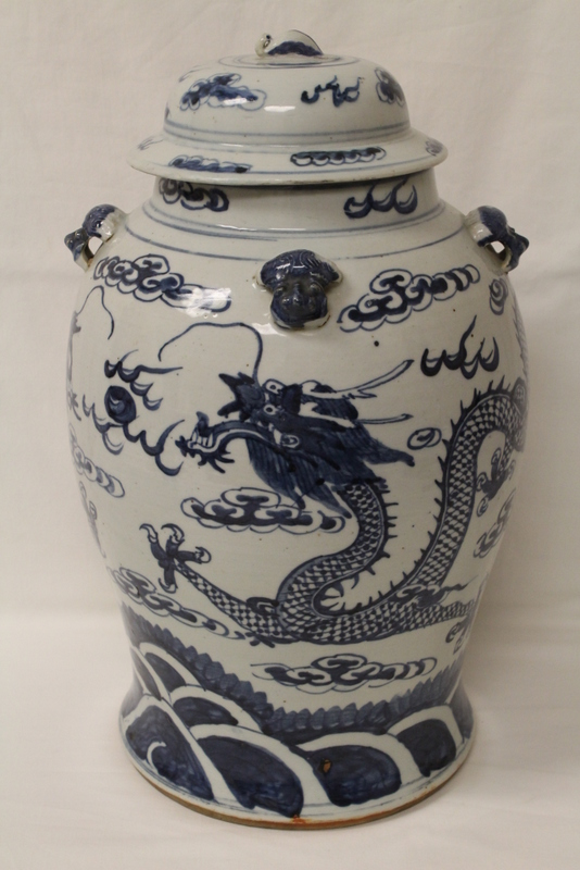 A finely painted antique b&w baluster covered jar