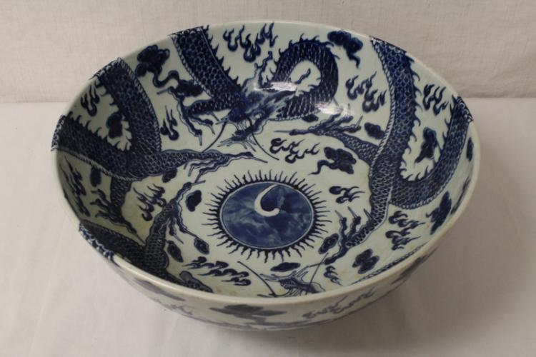 Large Chinese vintage b&w porcelain bowl