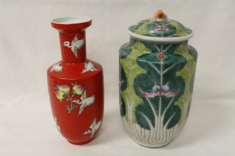 Chinese famille rose covered jar & a red vase