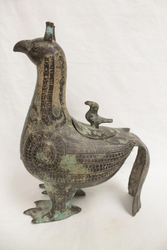 Chinese archaic style bronze wine jar