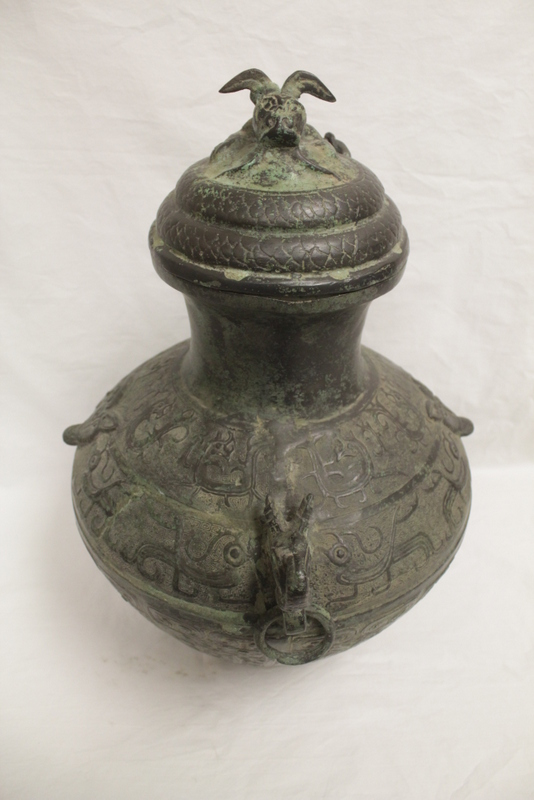Chinese bronze large covered wine vessel
