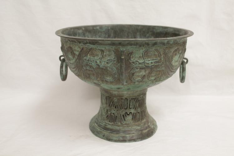 Unusual Chinese archaic style bronze stem bowl