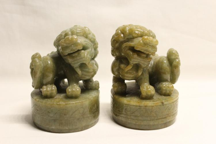 Pair Chinese jadeite carved table ornament