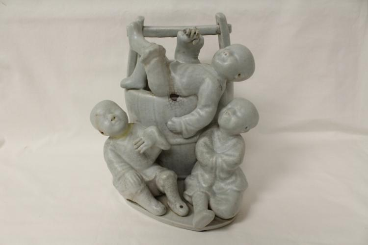 Chinese porcelain figurine group, Yungzheng mark