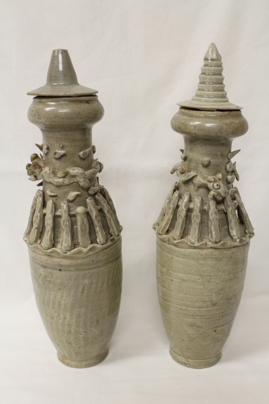 Pair Chinese Song style celadon burial vases