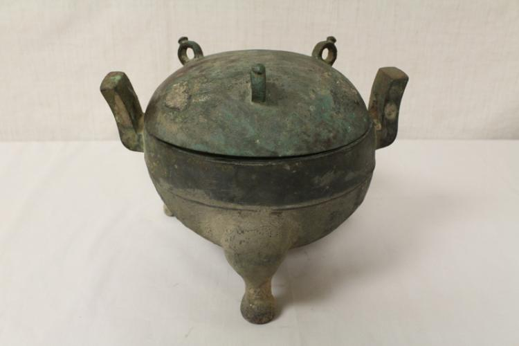 Chinese archaic style bronze covered ding