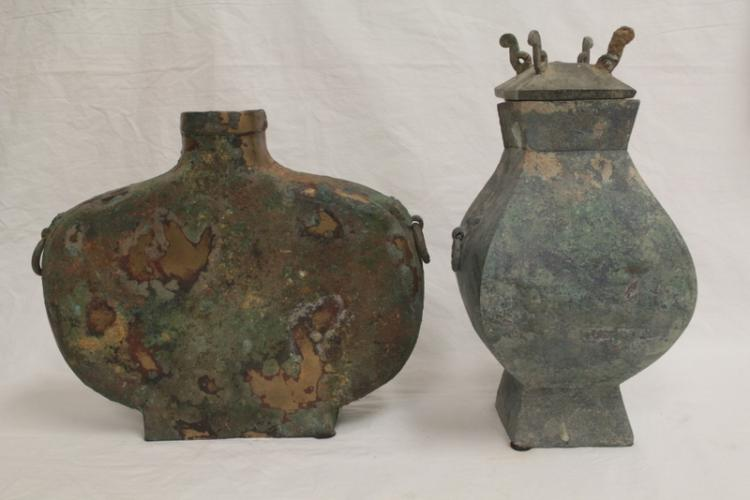 2 Chinese archaic style bronze wine vessels