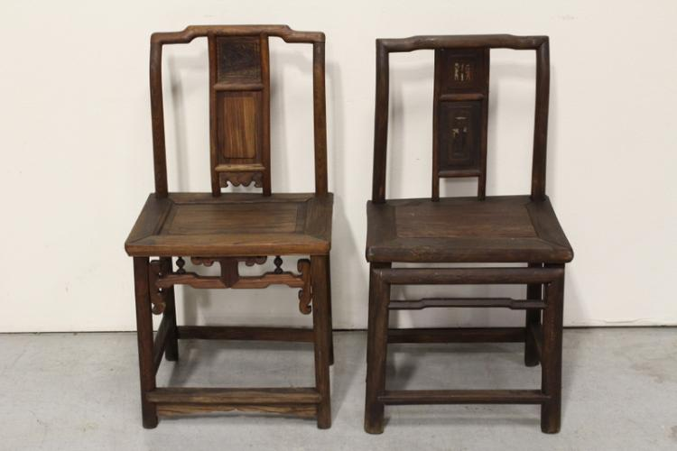 2 Chinese antique rosewood armchairs