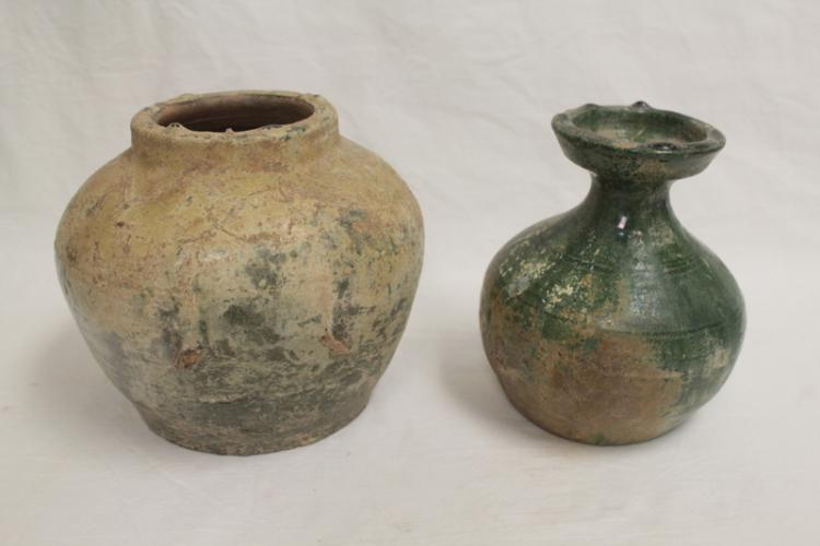 2 Han green glazed pottery jars