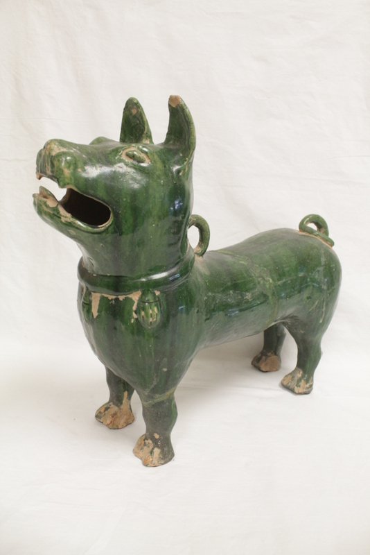 Han style green glazed pottery dog