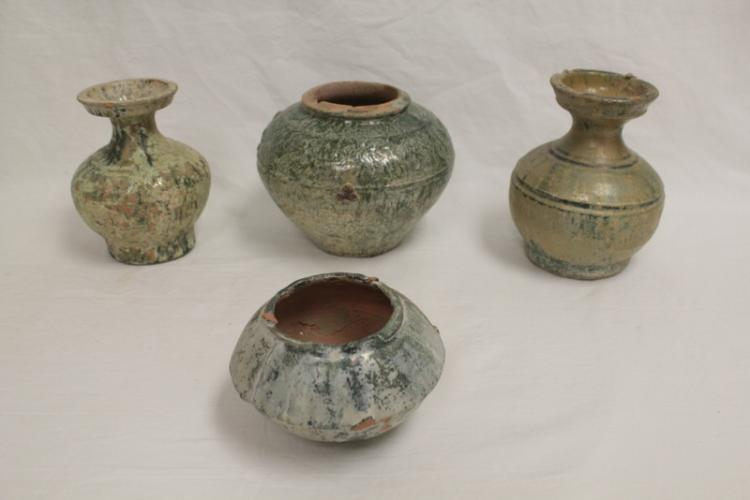 4 Han green pottery jars