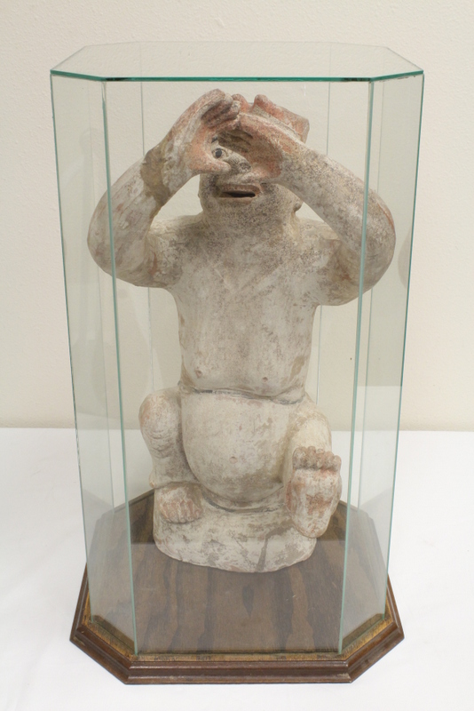 possible Han pottery sculpture in display case