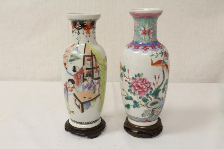 2 Chinese antique famille rose porcelain vases