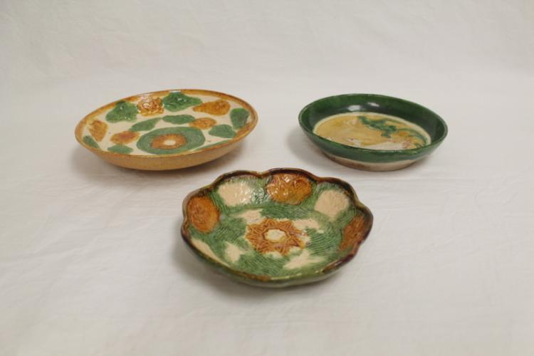 3 Tang sancai style pottery plates