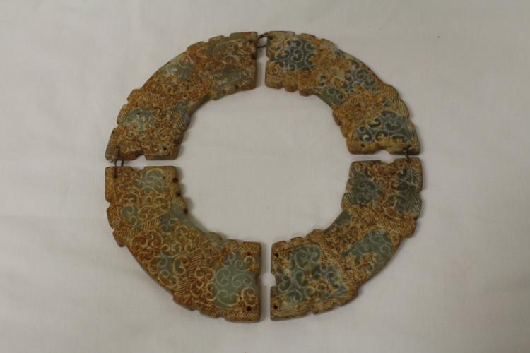 Chinese jade carved sectional plaque
