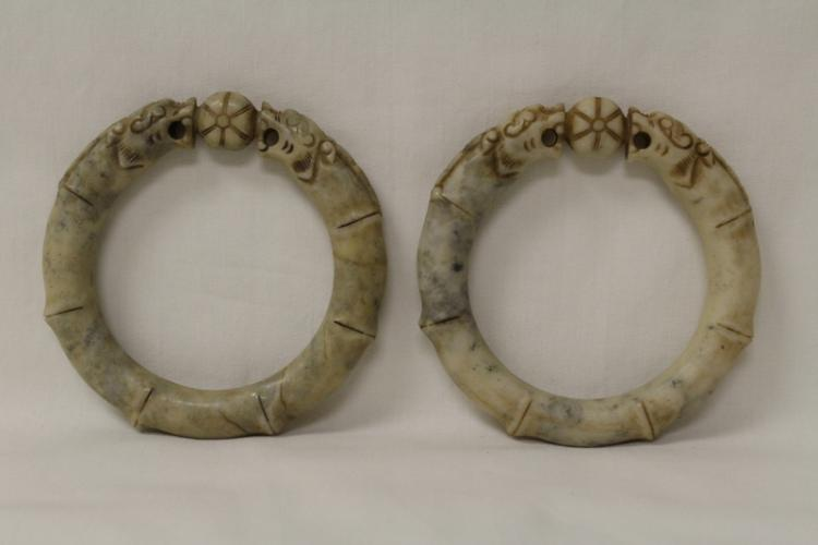 2 Chinese jade like stone carved bangle bracelet