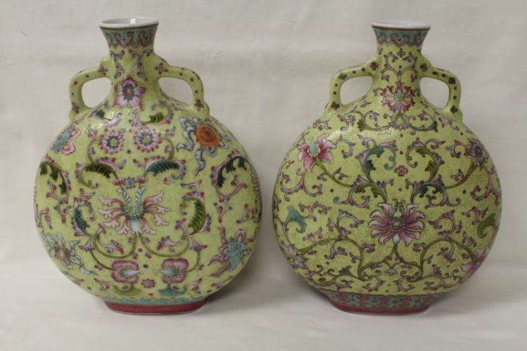 Pair Chinese famille rose porcelain wine flask