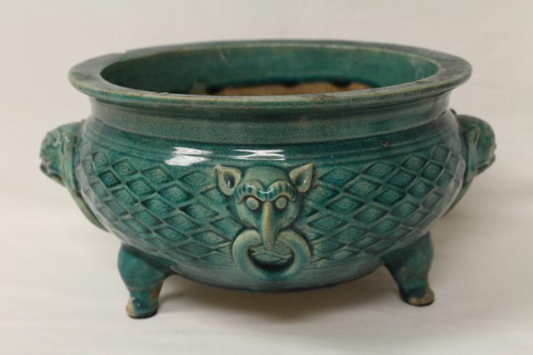 Chinese green glazed porcelain censer