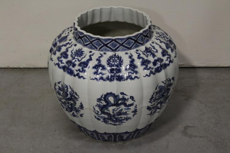 A massive Chinese blue and white porcelain jar