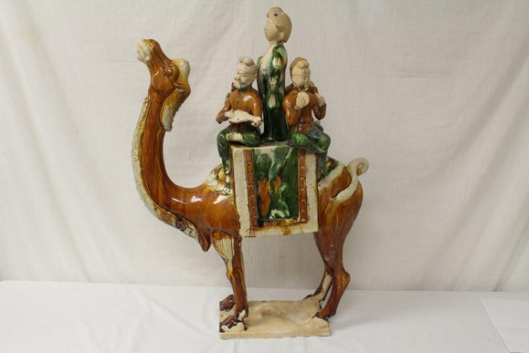 Large Chinese Tang sancai style camel w/ foreigners