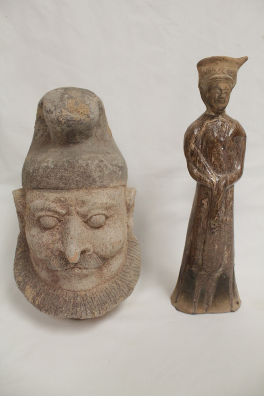 jiaotai pottery figure & a Tang style pottery head