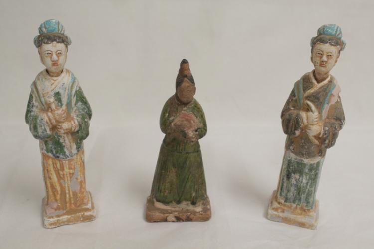 3 Ming style pottery attendants