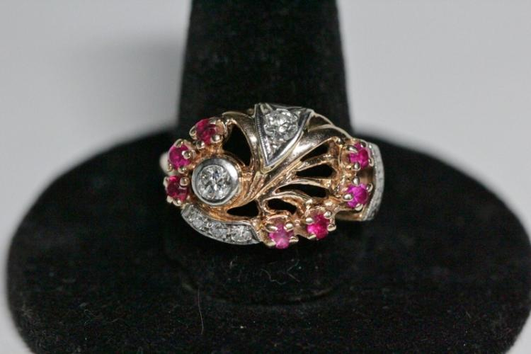 14K rose gold retro diamond ruby ring