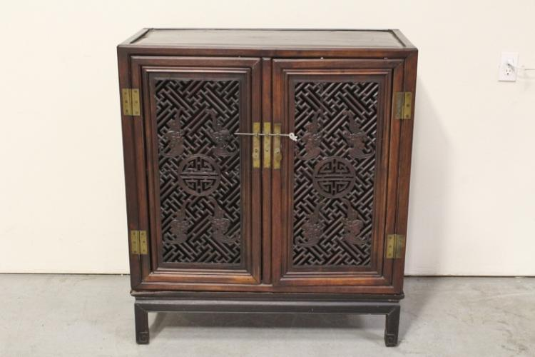 Chinese antique rosewood cabinet on stand