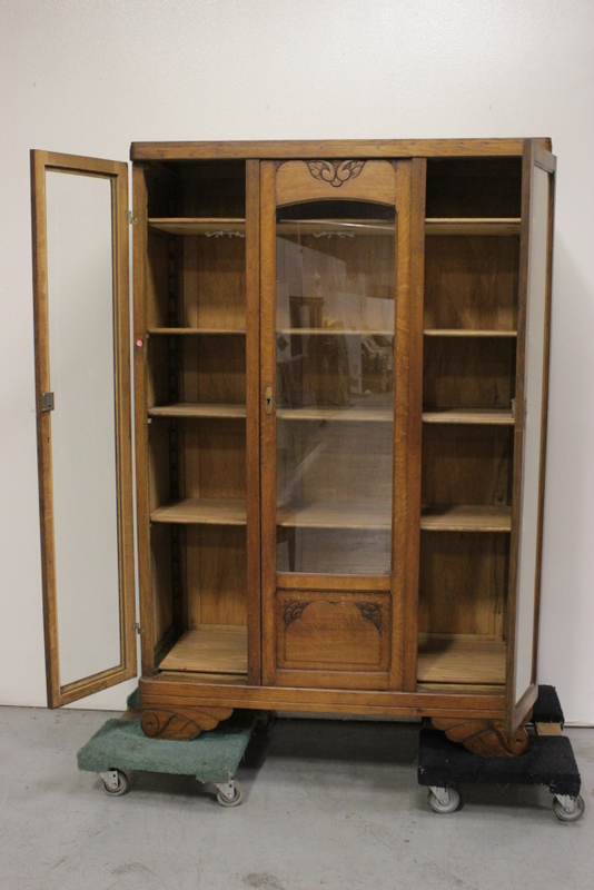 Art Nouveau Oak Display Case