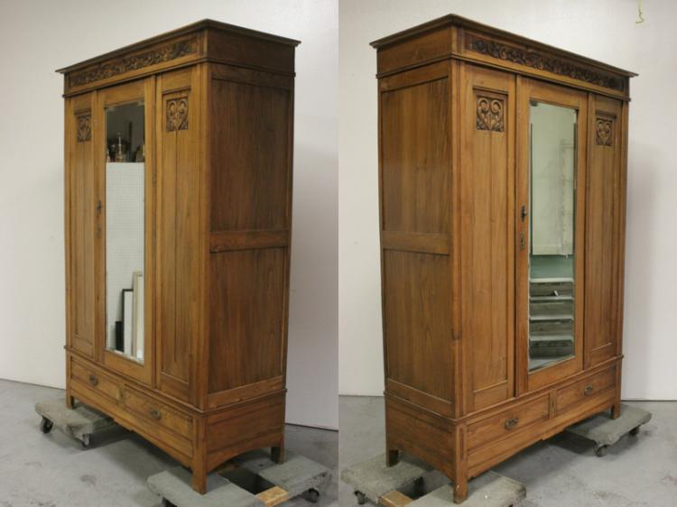 art nouveau walnut armoire. Black Bedroom Furniture Sets. Home Design Ideas