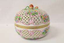 A beautiful large pierced covered bowl by Herend